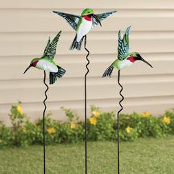 Metal Hummingbird Yard Stake Lawn Planter Garden Decor Outdo