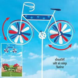metal patriotic bicycle wind spinner garden stake