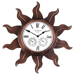 Sterling & Noble Metal Sun Outdoor Wall Clock with Copper Fi