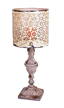 YK Decor Metal Vintage Table Candle Holder Candle Lamp, Beig