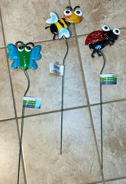Metal Yard Stake Ladybug Bumble Bee & Butterfly Lawn Garden