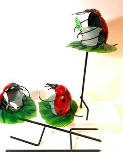 Metal Yard Stake Ladybug with votive candle holder Lawn Gard