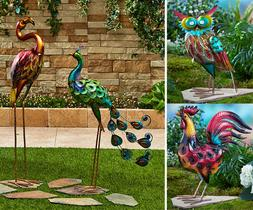 Metallic Bird Stake Garden Decor Outdoor Yard Flamingo Peaco