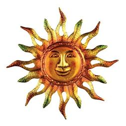 Metallic Iron Sun Wall Art, Hand-Painted in Orange, Yellow,