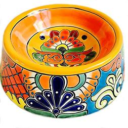 Mexican Talavera Ceramic Dog Bowl -Large Round Yellow Rim, O
