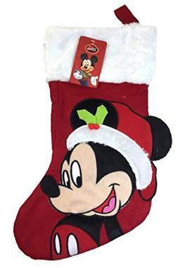 "Disney Mickey Mouse Big Face 18"" Velour Christmas Stocking w"