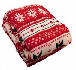 HD Designs Microplush Christmas Fair Isle Twin Full Bed Flee