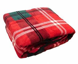 HD Designs Microplush Christmas Red Plaid Queen King Bed Fle