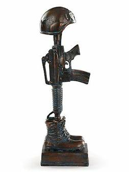 """Military Soldier Battle Cross Patina 11.75"""" Resin Indoor Out"""