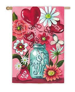 Be Mine Mason Jar Valentine Bouquet House Flag