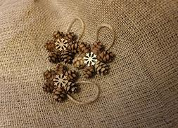 Mini Pinecone Ornament with Gold Snowflake Adornment