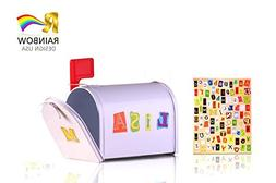 Rainbow Design Mini Tin Mailbox With Alphebet Stickers for P