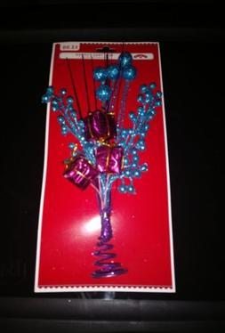 HOLIDAY TIME MINI TREE TOPPER CHRISTMAS DECOR PURPLE BLUE PI