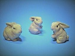 Miniature Rabbits/Bunny Figurine resin pkg of 3 woodland fai