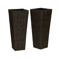 Household Essentials ml-5018 Resin Wicker Floor Vase Planter