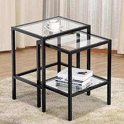 Topeakmart Set of 2 Modern Black Metal Glass Top Nesting Sid