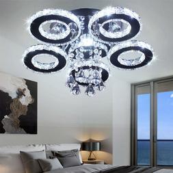 Modern Crystal Chandelier 5 Rings Ceiling Light Fixture Stai