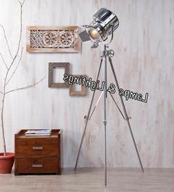 Modern Industrial Tripod Floor Lamp Studio Searchlight Home
