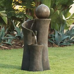 """Modern Sphere Curve Cascading 39 1/2"""" High Fountain"""