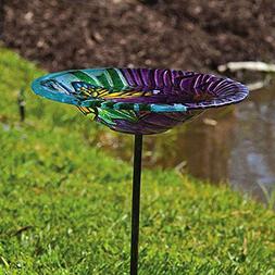 Evergreen Enterprises Monarch Floral, Glass Stake Birdbath