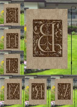 Monogram Burlap Style Fancy Initial Garden Banner Flag 12x18
