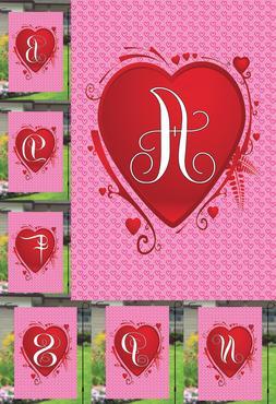 Monogram Initial Valentines Day Heart Garden Banner Flag Yar