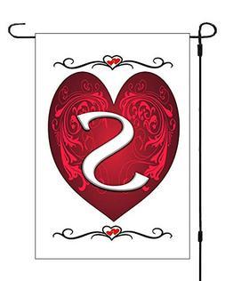 1 Day Flags Monogram Initial S Valentines Heart Garden Banne
