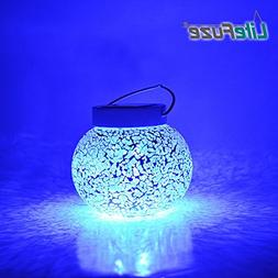 LiteFuze Mosaic Glass Rechargeable Solar Lamp with Night Aut
