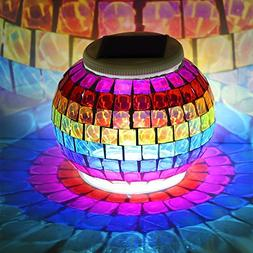 Pandawill Mosaic Glass Solar Powered Table Light,Waterproof