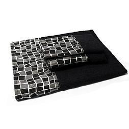 MOSAIC STONE BLACK 3-PC TOWEL SET
