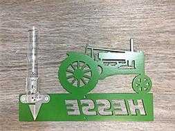 Mountable metal tractor outdoor rain gauge for yard garden a