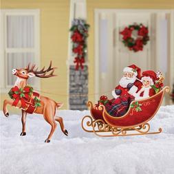 Mr & Mrs Santa Claus In Sleigh w/ Reindeer Metal Christmas Y