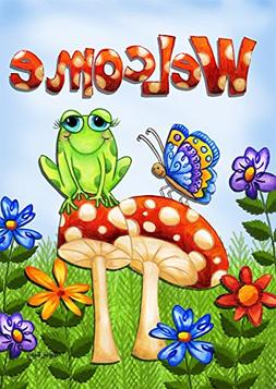 Mushroom Frog Spring House Flag Welcome Butterfly Toadstools