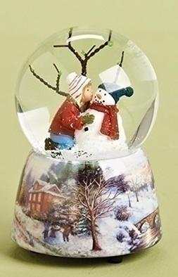 """5"""" Musical Girl Kissing Snowman Winter Scene Christmas Glitt"""