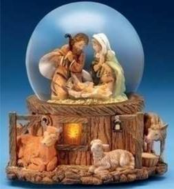 """5.75"""" Musical Lighted Holy Family Glitterdome"""