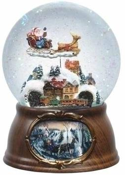 "6.5"" Musical Rotating Santa Claus with Train Christmas Snow"
