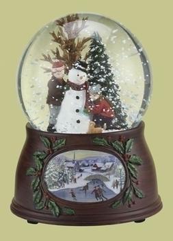 5 5 Musical Snowman And Kids Winter Scene Christmas Snow Gl