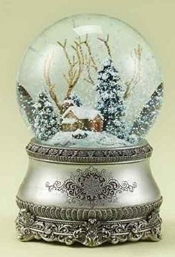 """5.5"""" Musical Vintage-Style Winter Cottage Christmas Snow Glo"""