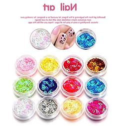 Nail Art Stickers,12 Colors Nail Art Tips Stickers Acrylic 3