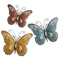 Nature Inspired Metal Butterfly Decorative Wall Art Trio Ind