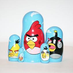 Nesting doll Angry Birds toys for kids signed matryoshka rus