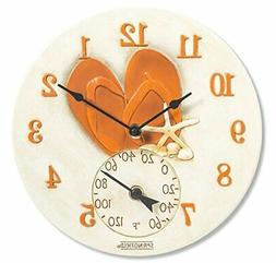 """NEW Springfield 12"""" Flip Flops Poly Resin Clock with Thermom"""