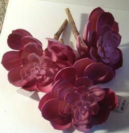 NEW $15 Lot 3 Pink Artificial Succulent Plants Faux Floral H