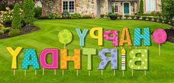 "NEW 18"" Tall Happy Birthday Yard Lawn Signs - Birthday Parad"