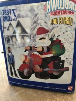 NEW 2005 Gemmy 7' Lighted Santa on Motorcycle Bike Christmas