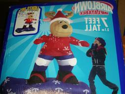 NEW 2005 Gemmy 7' Tall Lighted Snowboarding Moose Christmas