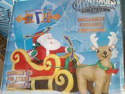 NEW 2010 Gemmy 7' Lighted Animated Santa Reindeer Christmas