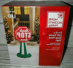 "New 3' 6"" Christmas Lighted Santa Stop Here Sign Airblown In"