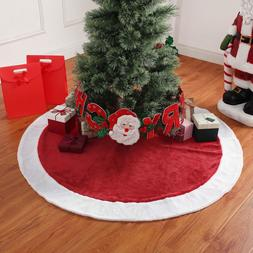 """New Holiday Time 48"""" Christmas Tree Skirt White Faux Fur Hol"""