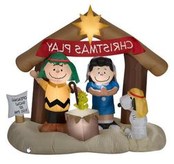 NEW 6 FT TALL CHRISTMAS PEANUTS SNOOPY WOODSTOCK NATIVITY IN